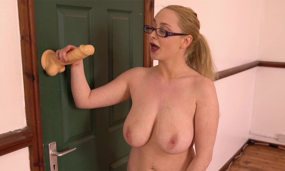 Big tits blonde playing with dildo