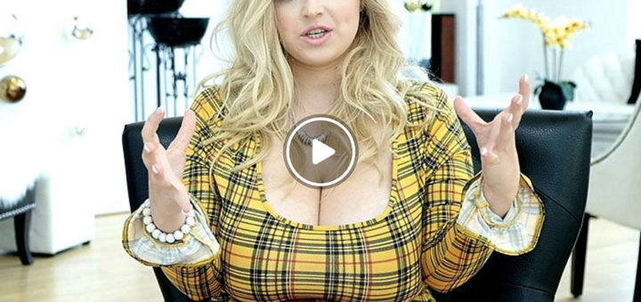 Big tits blonde with impressive cleavage in tight top