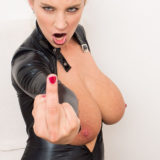 Katerina Hartlova giving the finger and showing her big tits
