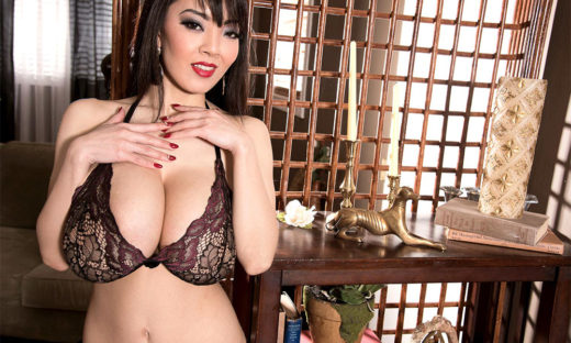 Big tits Asian babe in lace bra