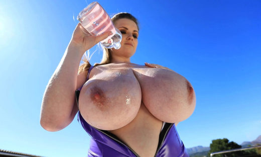Maria outdoors big tits about to get oiled up
